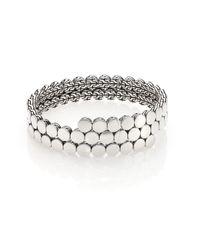 John Hardy | Metallic Dot Sterling Silver Double Coil Bracelet | Lyst