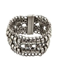 R.j. Graziano | Metallic Silver Chain and Crystal Magnetic Closure Cuff | Lyst