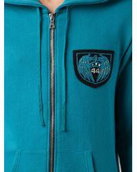 Balmain Blue Logo Appliqué Hoodie for men