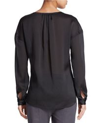 424 Fifth | Black Sheer Dobby Pullover Henley | Lyst