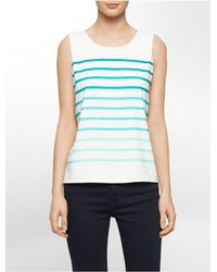 Calvin Klein - Blue Ombre Stripe Sleeveless Top - Lyst