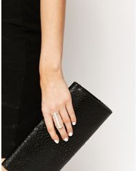Lipsy - Metallic Pave Bar Double Ring - Lyst