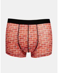 ASOS - Red Trunks In Microfibre With Brick Print for Men - Lyst