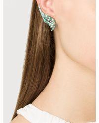 Venyx | Green 'lady Gator' Diamond Earrings | Lyst