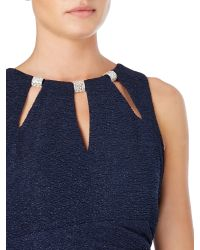 Eliza J - Blue Fitted Dress With Cut Out Neck - Lyst