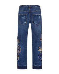 MSGM - Blue Embroidered Boyfriend Jeans - Lyst