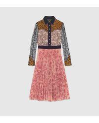 Gucci | Multicolor Georgette Bonded Lace Dress | Lyst