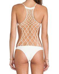 Mikoh Swimwear - White Xavier Crochet One Piece in Ivory - Lyst
