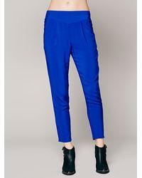 Free People Blue Easy Pleat Trousers