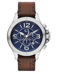 Armani Exchange - Metallic Chronograph Leather Strap Watch for Men - Lyst