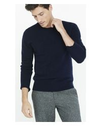 Express - Blue Wool Blend Crew Neck Sweater for Men - Lyst