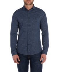 Michael Kors | Blue Ted Slim Fit Patterned Shirt for Men | Lyst