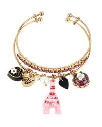 Betsey Johnson | Metallic Glitz And Goldtone Eiffel Tower Charm Bangle Bracelet Set Of 2 | Lyst