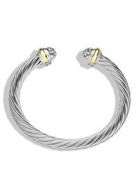 David Yurman Metallic Cable Classics Bracelet With Diamonds And Gold
