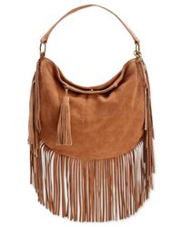 Lucky Brand | Brown Rickey Suede Fringe Crossbody Hobo | Lyst