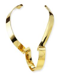 Alexis Bittar | Metallic Large Golden Ribbon Collar Necklace | Lyst