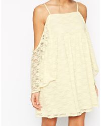 ASOS | Natural Skater Dress In Lace With Cold Shoulder And Flared Sleeves | Lyst