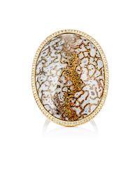 Monique Péan Metallic Women's White Diamond & Dinosaur Bone Ring