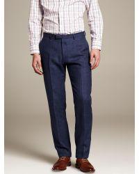 Banana Republic Modern Slim Fit Navy Linen Suit Trouser Blue Fade for men