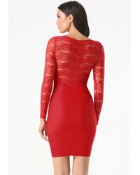 Bebe | Red Emma Lace Detail Dress | Lyst