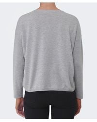 Cocoa Cashmere - Gray Pom Pom Rib Sleeve Sweater - Lyst