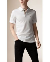 Burberry - White Check Placket Polo Shirt for Men - Lyst