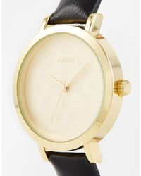 Oasis | Blue Floral Etch Dial Navy Leather Watch | Lyst