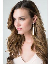 Bebe - White Enamel Bar Drop Earrings - Lyst