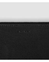 AllSaints | Black Fleur De Lis Large Leather Pouch | Lyst