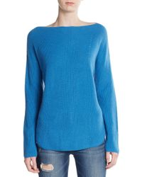 Vince | Blue Ribbed Cashmere Sweater | Lyst