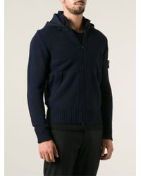 Stone Island Blue Contrasting Knit Hoodie for men
