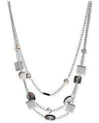 Kenneth Cole | Metallic Silver-Tone Shell And Faceted Bead Illusion Necklace | Lyst