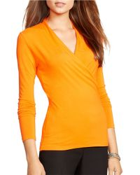 Lauren by Ralph Lauren - Orange Jersey Wrap Top - Lyst