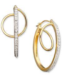 Macy's - Metallic 14K Gold Diamond Accent Orbit Hoop Earrings - Lyst