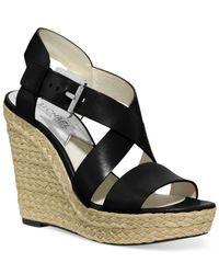 Michael Kors   Black Michael Giovanna Platform Wedge Sandals   Lyst