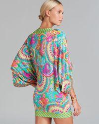 Trina Turk Blue Festival Folkloric Knit Covers Tunic Swim Cover Up