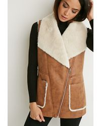 Forever 21 | Brown Faux Shearling Moto Vest | Lyst