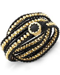 House of Harlow 1960 | Black Gold-tone Karma Leather Wrap Bracelet | Lyst