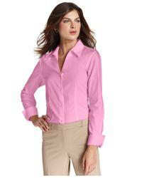 Jones New York - Pink Long-Sleeve Wrinkle-Resistant Shirt - Lyst