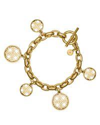 Michael Kors | Metallic Pavé Open Monogram Disc Charm Bracelet | Lyst