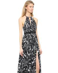JILL Jill Stuart Multicolor Floral Long Dress - Black/Off White