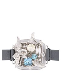 Heaven Tanudiredja Gray Squircle Leather Bracelet