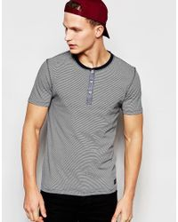 SELECTED | T-shirt With Henley Neck - Blue for Men | Lyst