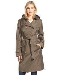 London Fog | Brown Long Double Breasted Trench Coat | Lyst