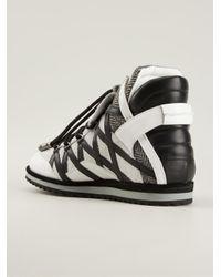 Dolce & Gabbana White Paneled Hi-top Sneakers for men