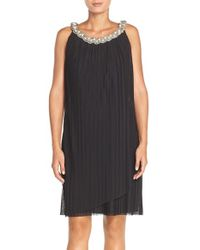 Donna Ricco | Black Embellished Pleat Jersey Shift Dress | Lyst