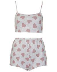 TOPSHOP - Gray Heart Print Pj Crop Top and Shorts - Lyst
