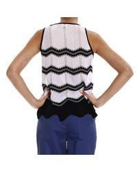 M Missoni - Black Top Sleeveless Knit Lines - Lyst