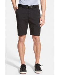 Bobby Jones - Black Stretch Cotton Flat Front Shorts for Men - Lyst