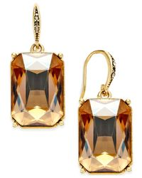 ABS By Allen Schwartz | Brown Gold-tone Peach Stone Drop Earrings | Lyst